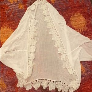 White lace edged cover up